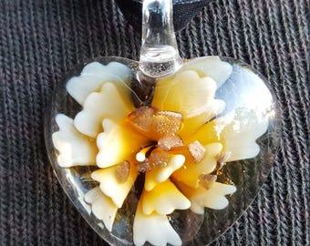 Blown Glass Flower Inside A Clear Glass Heart Necklace