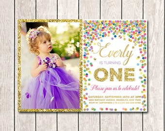 1st Birthday Invitation With Photo Girl Birthday Invites Printable Rainbow Confetti Invitation Girl Photo Invites Colorful Confetti Invite