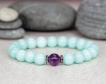 Amazonite bracelet Mala bracelet Dainty bracelet Blue bracelet Gemstone jewelry Fashion jewelry Trending jewelry Birthday gift for wife gift