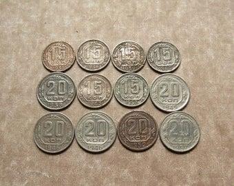 30s - 50s Soviet Coins, Unusual Coins, Soviet Kopeks, 15 Kopeks, 20 Kopeks, Full Set of Coins, Gift For Numismatist, Antique Ra