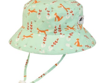Child's Sun Protection Camp Hat - Organic Cotton Print in Foxglove (6 month, xxs, xs, s, m, l)