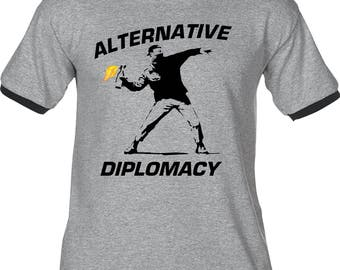ALTERNATIVE DIPLOMACY - Premium T-Shirt -Many Color Options -Ringers/Cottons/Blends/Tank Tops fake false news banksy inspired rage trump
