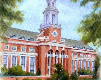 "OKLAHOMA STATE University Edmon Low Library Original Art / OSU Oil Painting on Canvas / 6""x6"" Oklahoma State University on Canvas"
