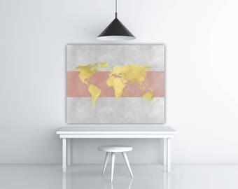 World Map Print, Gold Foil Wall Art, Travel Printable Pink And Grey Wall Art, World Art, Wanderlust Map Poster, Gold Foil Map Gift, Gold Map