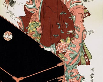 "Japanese Ukiyo-e Woodblock print, Koryusai, ""Coutesan And Her Maid Plyaing At Temari"""