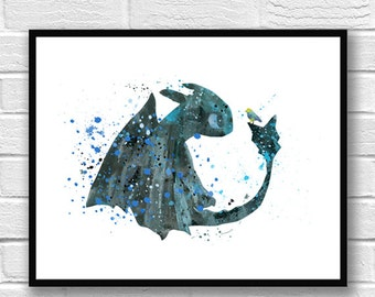 Toothless Fury Watercolor Print, How to train your Dragon Watercolor Art, Dragon Art Print, Movie Poster, Wall Art, Kids Room Decor - 376-1