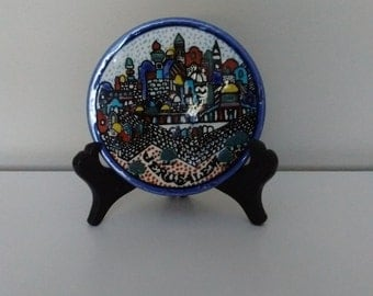 "Miniature ""Jerusalem"" Porcelain Plate, Small Decorative Plate from Jerusalem,"
