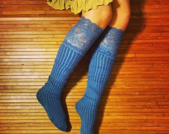Women's Over The Knee Socks. Knitted Socks. Lace Socks. Vintage Feel Socks. Retro Looking Socks. Blue Socks.