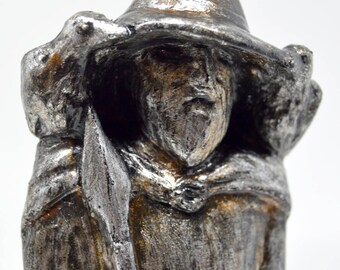 Odin - Handmade gilded sculpture - Steel finish