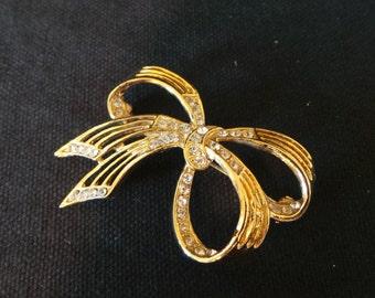 Vintage Clear Rhinestone Gold Ribbon Bow Brooch Pin