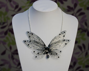 The Carabosse Necklace - Large Gothic Dark Fairy Wing/Butterfly Cicada Wing Statement Necklace