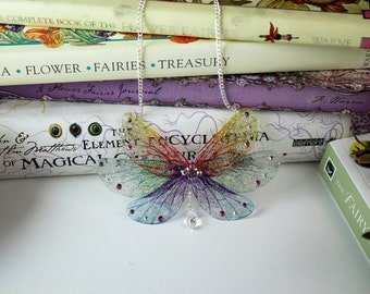 Beautiful Rainbow Sprite - Gossamer Fairy Wing/Butterfly Cicada Wing Statement Necklace