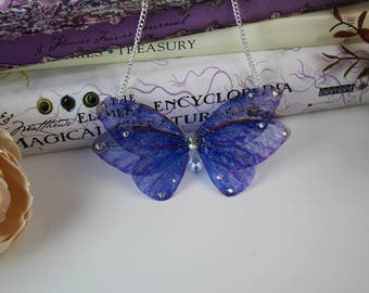 Lovely Blue Flower Fairy Wing/ Butterfly/Cicada Wing Necklace
