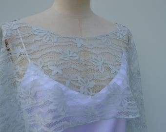 Clearance 30% lace wedding, blue lace poncho Cape