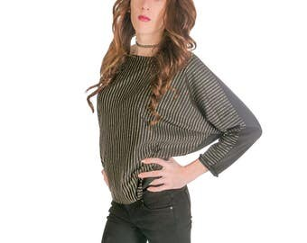 Black and Gold Blouse Stripe