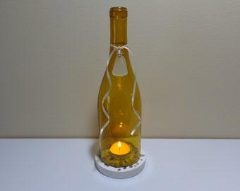 Wine bottle candle holder - Wine bottle light - Wine bottle lantern - Glass tea light holder - Concrete coaster - Recycled wine bottle