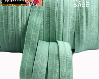 "5/8"" inch Sage #577 FOE Fold Over Elastic - Solid Color - By the Yard- Shiny DIY For Headband - Light Green Sage"
