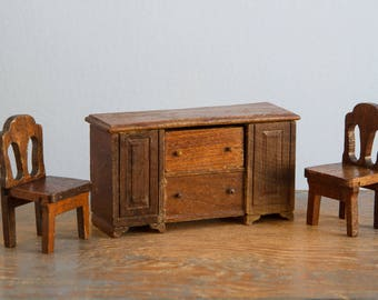 Strombecker Wooden Buffet & Pair of Chairs - 1:16 / 3/4 Inch Scale Vintage Dollhouse Furniture