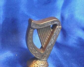"""Vintage Brass Lyre Harp """"Ireland"""""""