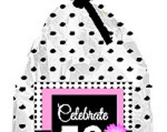 CakeSupplyShop Item#050BFC 50th Birthday / Anniversary Pink Black Polka Dot Party Favor Bags with Twist Ties -12pack