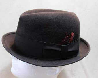 Vintage Black Dobbs  Fur Felt Fedora Trilby Men's Hat Size 7 1/4