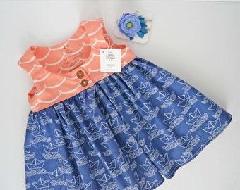 Nautical Girls Dress, Nautical Girl Outfit, Nautical Girls Clothes, Nautical Baby Outfit, Baby Girl Dress, Pink Dress // Sailboat Coral Wave