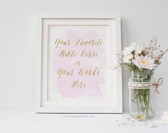 Custom Print, Personalized Gift, Pink Watercolor, Bible Verse, Cadre, Anniversary Print, Shower Gift, Gift Ideas, Mother's Day Gift, D14-1-0