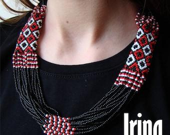 Black and red Folk Ukrainian necklace . Ukrainian Beads multistrand Neclace. Gerdan to vyshyvanka. Traditional necklace. ethnic. folk gerdan