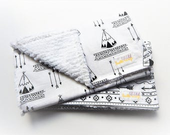 Gender Neutral Burp Cloth Set- Set of 2, tepee, camping, baby shower gift, girl burp cloth, boy burp cloths