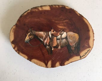Original Cedar Wood Horse Painting