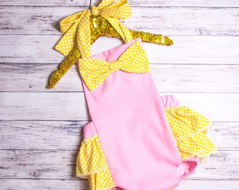 Pink and Yellow Bow Romper- Baby Girl Romper, polka dot ruffle Romper, pink polka dot romper, yellow polka dot outfit