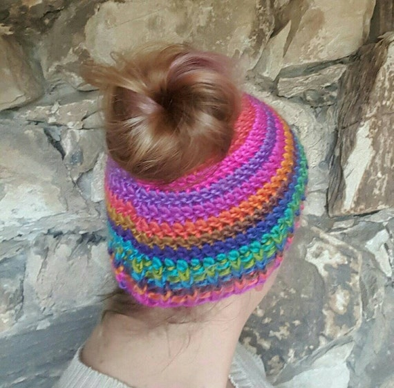 Womens Bun Winter Hat, Bright Crochet Ponytail Beanie, Messy Bun ...