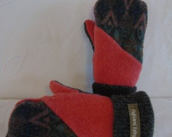 Coral mittens, grey mittens, handmade mittens, wool mittens, fleece lined mittens, recycled sweater mittens, warm mittens,  women mittens