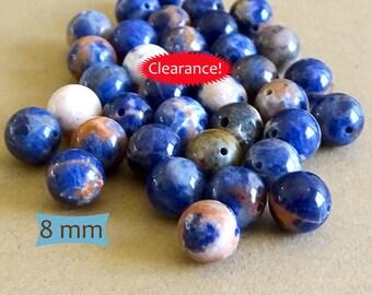 Orange Marbled Sodalite Beads--12 Pcs   SO08-12