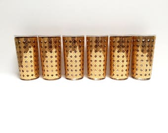 Vintage gold cane highball glasses, set of 6 | Culver Cannella pattern tumblers | mint condition | mid century barware | retro entertaining