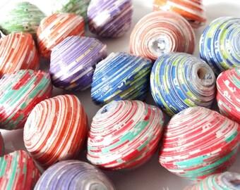 Recycled Paper Saucer beads(25mmx45mm) Bulk Pack(50 beads),Fairtrade beads ,Ugandan handmade, Chunky african beads,
