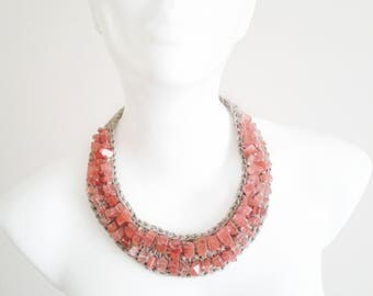 Beaded collar, red statement necklace, red textile necklace, crochet linen necklace, red fiber necklace, red beaded necklace, crochet collar