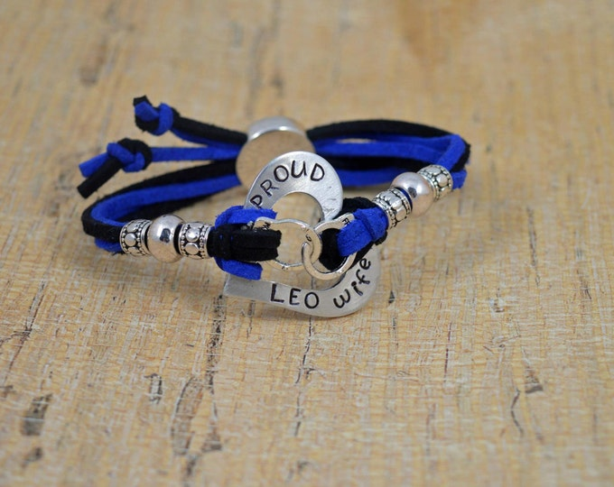 Proud LEO Wife, Made and Ready to Ship, Adjustable Hand Stamped Washer Bracelet, Washer Bracelet, Blue Live Matter, Police Lives Matter