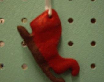 Custom Red Sleigh Christmas Tree Ornament, Personalized Sled Christmas Ornament, Handmade Christmas Tree Ornament