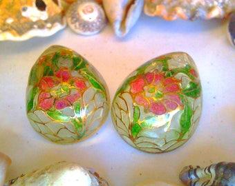 Plique a jour jewelry Plique a jour enamel earrings early french Vintage jewelry cloisonne art nouveau teardrop stained glass souvenirs 1890