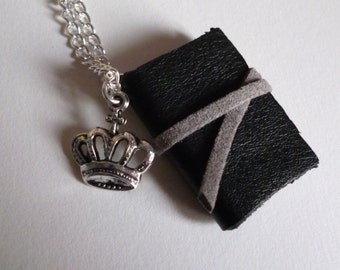 Black mini book necklace, leather miniature notebook necklace with crown charm