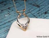 Diamond Ring Holder Necklace, Wedding Ring Holder Necklace, Ring Holder Pendant, Argentium Sterling Silver
