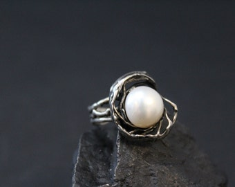 Sterling Silver Organic Modernist Shell Pearl Ring