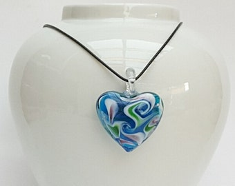 Black Leather Blue Heart Pendant Necklace, Blue Jewelry, Large Heart Necklace, Love Heart Pendant, Australian Made, Gift for Her, Statement