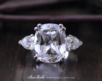 3.90 ct. Center Engagement Ring-Antique Cushion Cut Diamond Simulant-Bridal Ring-Wedding Ring-Anniversary Ring-Sterling Silver [3714]