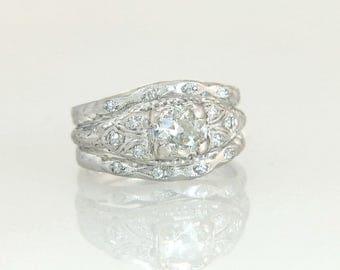 Antique Estate Platinum .84ct Genuine Diamond Art Deco Wedding Ring Set 7.4g