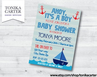 Nautical Baby Shower Invitation (boy)