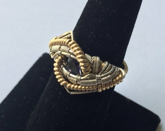 Benjamin Klaus Contemporary Handmade Silver and Gold Tone Ring with Amethyst