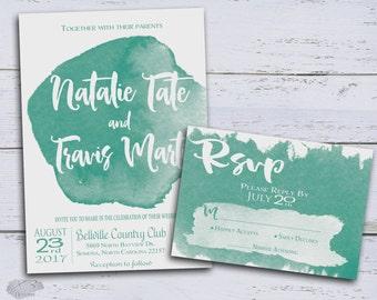 Watercolor Wedding Invitation, Modern Wedding Invitation Printable, Boho Wedding Invite, Elegant Summer Wedding, Calligraphy, DIY