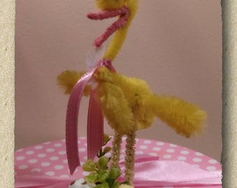 Bump Chenille Easter Duck with Chick - Yellow - Red - White - Fawn - Vintage Inspired design - Easter Decoration